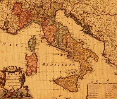 Fototapeta Antyczny mapa Włoch