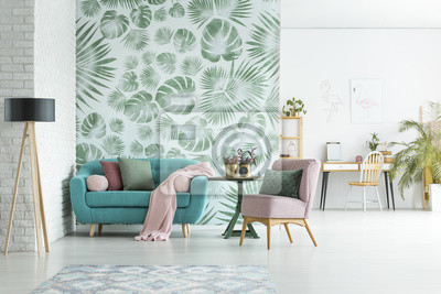 Fototapeta Apartament z tapetą w kwiaty