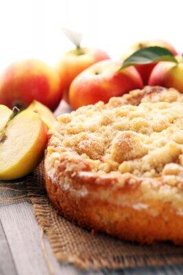 Apple pie or homemade cake with apples on wood. Delicous dessert apple tart
