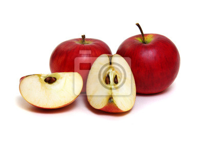 Apple with slice on a white background