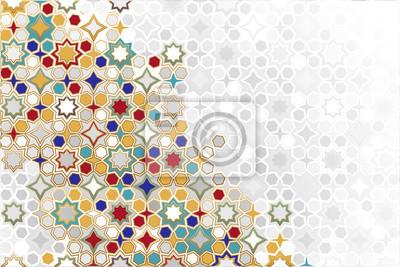 Fototapeta Arabic ornamental Background in color. Islamic ornamental colorful detail of mosaic. arabic, east, indian ornament, persian motif, 3D. simple geometric.Ramadan Kareem gold greeting card, banner.