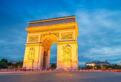 Fototapeta Arc de Triomphe, oświetlone w nocy, Paryż