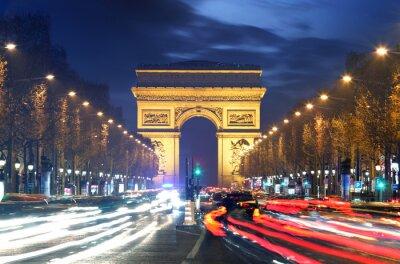 Fototapeta Arc de triomphe Paris city at sunset
