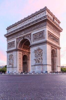 Fototapeta Arc de Triomphe Paris miasto o zachodzie słońca