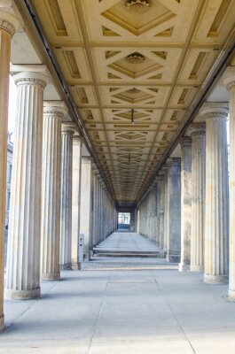 Fototapeta arcade of antique columns decorated by symetric ceiling