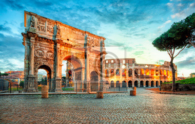 Fototapeta Arch of Constantine and Colosseum in Rome, Italy. Triumphal arch in Rome, Italy. North side, from the Colosseum. . Colosseum is one of the main attractions of Rome. Rome architecture and landmark.