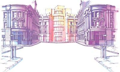 Fototapeta Architektoniczna lektura dla wzroku - budynki grafika tuszem
