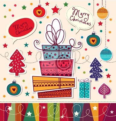 Fototapeta Archiwalne karty Boże Narodzenie z pudełka