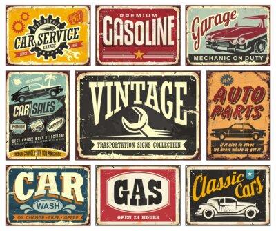 Fototapeta Archiwalne kolekcji znaki transportu dla serwisu samochodowego