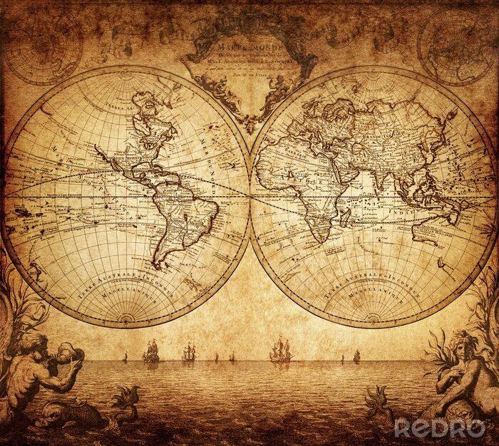 Fototapeta archiwalne mapa świata 1733