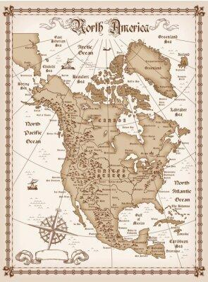 Fototapeta Archiwalne mapy Ameryki Północnej