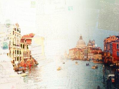Fototapeta Archiwalne pocztówka z bazyliki Santa Maria della Salute i woda Grand Canal na zachód słońca, Wenecja, Włochy, retro nastrojony