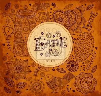 Fototapeta Archiwalne tła kawy wektor