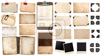 Fototapeta arkusze papieru, zabytkowe książki, stare ramki i narożniki, antiqu