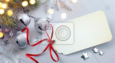 Fototapeta Art Christmas jodły z dekoracją na desce; christma