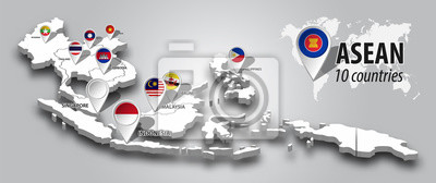 Fototapeta ASEAN and membership flag on 3D map Southeast asia perspective view and GPS navigator pin on gray color gradient background . Vector .