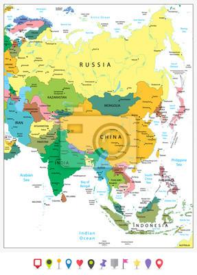 Fototapeta Asia jest bardzo szczegółowa mapa polityczna i płaskie ikony