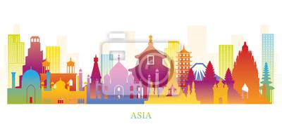 Fototapeta Asia Skyline Landmarks Colorful Silhouette
