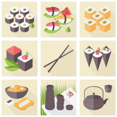 Fototapeta Asian food płaskie zestaw ikon