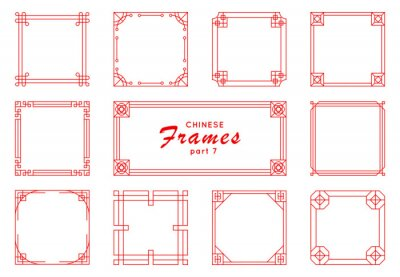 Fototapeta Asian frame set in vintage style on white background. Traditional chinese ornaments for your design. Vector red japanese pattern. Artwork graphic, asian culture decoration.