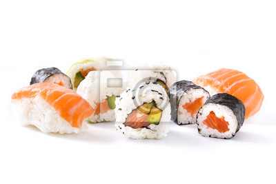 Fototapeta asortyment sushi na czarnej tacy na białym tle