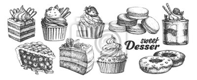 Fototapeta Assortment Baked Sweet Dessert Set Vintage Vector. Chocolate And Fruit Cakes, Macaroons And Donuts, Berries Pie And Creamy Caseous Dessert Concept. Designed Template Black And White Illustrations