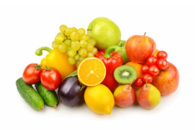 Fototapeta Assortment of fruits and vegetables isolated on white background.