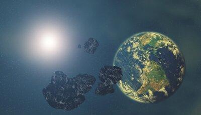 Fototapeta Asteroidy z Ziemią i rozgwieżdżonym tle. Cyfrowe ilustracji.