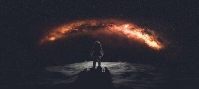 Fototapeta Astronaut doing space walk. Mars exploration.