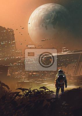 Fototapeta astronaut looking at futuristic city in the planet, digital art style, illustration painting