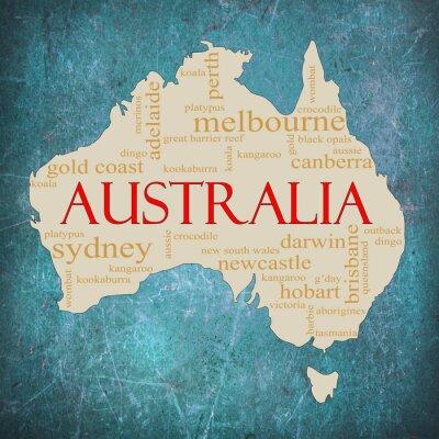 Fototapeta Australia niebieski chmura słowo grunge