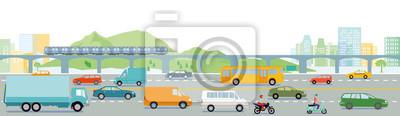 Fototapeta Autobahn mit Großstadt illustration