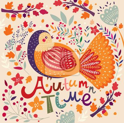 Fototapeta Autumn background with bird