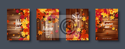 Fototapeta Autumn falling leaves. Banner set. Nature background with red, orange, yellow foliage. Flying leaf. Season sale. Vector illustration.