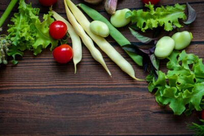 Fototapeta Autumn fresh vegetables on wooden table background