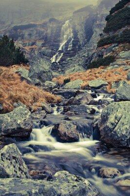 Fototapeta Autumn Waterfall in Slovakian High Tatra National Park