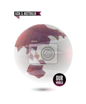Azja i Australia. Świat tło w stylu origami.