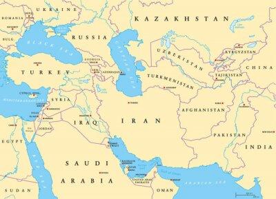 Fototapeta Azja Południowo-Zachodnia, mapa polityczna ze stolicami, granicami, rzekami i jeziorami. Zwany także Zachodnią, Zachodnią lub Południowo-Zachodnią Azją. Podregion, pokrywający się z Bliskim Wschodem.