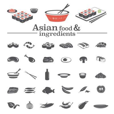 Fototapeta Azjatycka wektorowe ikony i składników żywności