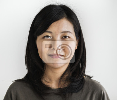 Fototapeta Azjatycki pochodzenie etniczne kobiety portreta krótkopęd w studiu