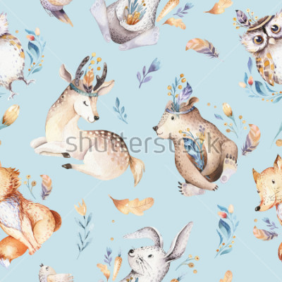 Fototapeta Baby animals nursery isolated seamless pattern with bannies. Watercolor boho cute baby fox, deer animal rabbit and bear isolated illustration for children. Bunny image