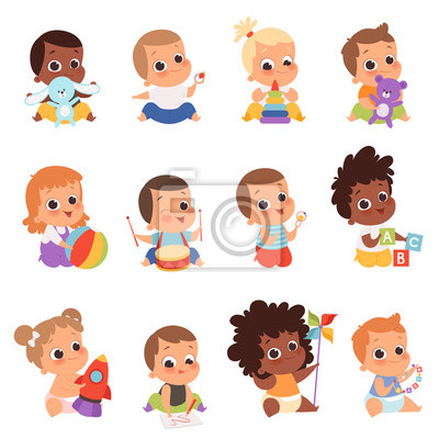 Fototapeta Baby characters. New born kids playing toys happy childhood small little one vector babies. Illustration baby child newborn with teddy, playing toddler