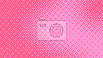 Fototapeta Baby pink pop art background in retro comic style with halftone dots design, vector illustration eps10