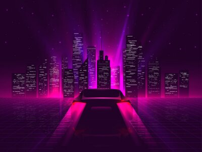 Fototapeta Back side sport car silhouette with neon glowing red rear lights riding on high speed at night with cityscape on background. Outrun or vaporwave retro futuristic aesthetic vector illustration.