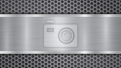 Fototapeta Background in gray colors, consisting of a metallic perforated surface with holes and a polished plate with metal texture, glares and shiny edges