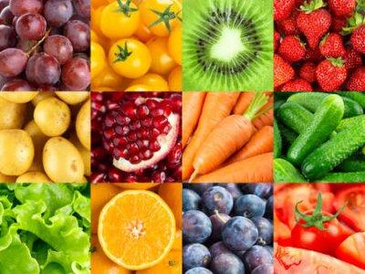 Fototapeta Background of fruits and vegetables. Fresh food