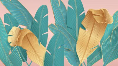Fototapeta Background with tropical leaves of palm trees on a pink background.