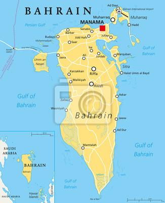 Fototapeta Bahrajn Mapa Polityczna Ze Stolica Manama Kraj Wyspa
