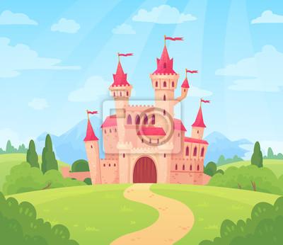 Fototapeta Bajkowy krajobraz z zamkiem. Wieża pałacu fantasy, fantastyczny dom bajki lub magiczne zamki królestwo kreskówka tło wektor