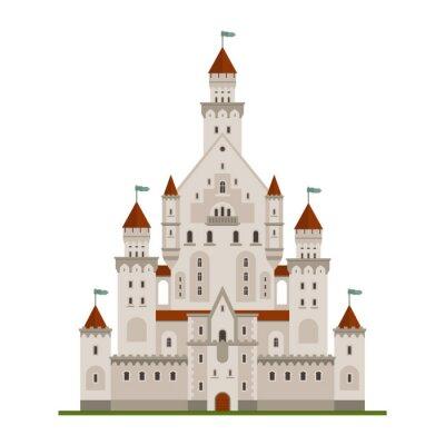 Fototapeta Bajkowy Zamek Królewski czy Pałac budowa z różnych okien, wież i wieżyczek z blankami i flagi. Dzieci książka, przygody, historii średniowiecznej tematy projektowe